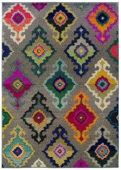 Kaleidoscope Grey and Multicolored Area Rug