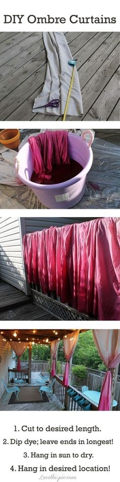 diy ombre curtains diy handmade diy ideas Pretty for the gazebo.  So fun! Love this idea for outside.