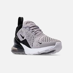 Three Quarter view of Women's Nike Air Max 270 Casual Shoes in Atmosphere Grey/Black/Gunsmoke/White White Nike Shoes, Nike Air Shoes, Sneakers Nike, Nike Socks, Airmax Thea, La Mode Masculine, Hype Shoes, Nike Air Max For Women, Me Too Shoes