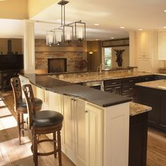 Kitchen Peninsula Hardwood Floors White Cabinets Design, Pictures, Remodel, Decor and Ideas - page 5