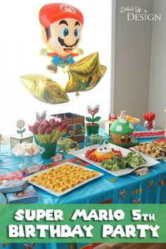 Super Mario Birthday Party Super Mario 5, Super Mario Party, Mario Bros., Mario Birthday Cake, Super Mario Birthday, 6th Birthday Parties, Birthday Ideas, Happy Birthday, Hama Beads Minecraft