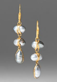 Lou Zeldis 3 Drop Tahitian Pearl Earrings