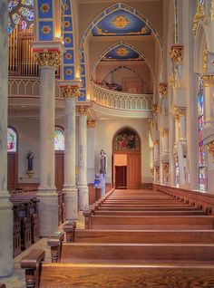 "Saint Joseph's Catholic Church ""features 60 stained glass windows which teach the story of Salvation, a white Carrara marble altar and pulpit, and an organ with 1,000 pipes...The November 15, 1903, edition of the Macon Telegraph began its coverage of the Church's dedication with, 'If architecture may be fittingly described as frozen music, St. Joseph's Church...is a symphony.'"" - Wikipedia"