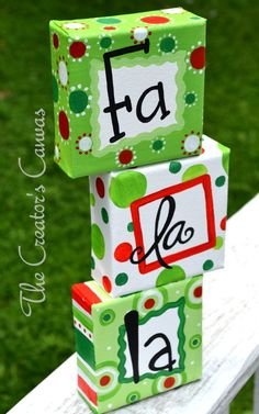Fa-La-La Set of 3 Christmas Canvas Ornaments, Hand-painted decor, Use it as a prop with your child's Christmas picture