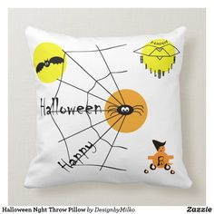Halloween Nght Throw Pillow Accent your home with custom pillows from Zazzle and make yourself the envy of the neighborhood. Made from high-quality Simplex knit fabric, these 100% polyester pillows are soft and wrinkle-free.#pillow #square #homedecor #home #interiordesign #interiorstyling #bedroomdecor #zazzlecomproducts #zazzlemade #zazzlecom #zazzle #holiday #holidaygiftsideas #happy #halloween #scaryhalloween #halloweendecorations #halloweendecoration #halloweenpartyideas #white