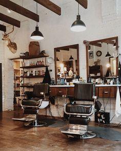 Hudson Hawk Barber Shop // Springfield, Missouri Plus Barber Shop Interior, Barber Shop Decor, Hair Salon Interior, Salon Interior Design, Commercial Interior Design, Salon Design, Interior Decorating, Spa Design, Cafe Design