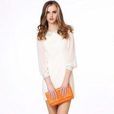 Cute Doll Collar Shiny Sequins Long Sleeve Dress @Jollychic