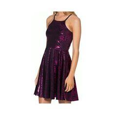 Metallic Skater Dress in Hot Pink (£11) ❤ liked on Polyvore featuring dresses, darkmagenta, hot pink skater dress, nylon skater dress, purple skater dress, hot pink dress and skater dress