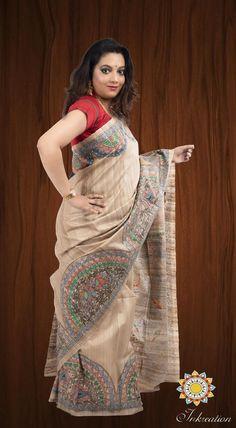 Exclusive Madhubani hand painting Tussar Silk Sari with Blouse Fabric Painting On Clothes, T Shirt Painting, Painted Clothes, Fabric Art, Saree Painting Designs, Bandhani Dress, Hand Painted Sarees, Silk Saree Kanchipuram, Madhubani Art