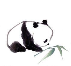 Super cute ink drawing of a Panda.