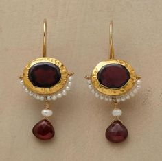 """TWO GARNET EARRINGS -- Crimped 24kt gold and cultured seed pearls accentuate garnet's rich red hue. Handmade exclusive by Nava Zahavi. 14kt French wires. 1-3/8""""L."""