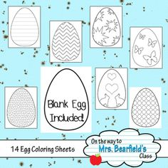 Easter Egg Coloring Pages from KristyBear Designs on TeachersNotebook.com - (14 pages) - These Easter egg colouring pages are great for Spring. They fill an 8.5x11 piece of paper but you could also fit 2 on one sheet!