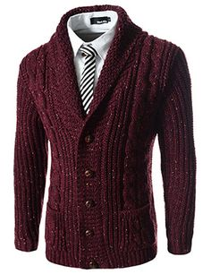 MadetoOrder men& burgundy cardigan Knit sweaters Knit cardigans Knit dresses Knit poncho Knit shawl Winter wear is part of Men This burgundy cardigan knitted from high quality woolen mi - Sharp Dressed Man, Well Dressed Men, Burgundy Cardigan, Dress With Shawl, Knit Cardigan, Knit Sweaters, Mode Inspiration, Pulls, Men Dress