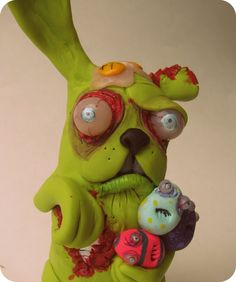 lowbrow ooak art doll zomBie BuNNy sculpture for by mealymonster