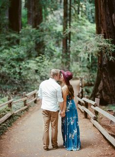 Kisses in the Red Woods in Northern California: http://www.stylemepretty.com/little-black-book-blog/2016/11/15/boho-chic-fall-anniversary-shoot/ Photography: Rebecca Yale - http://rebeccayalephotography.com/