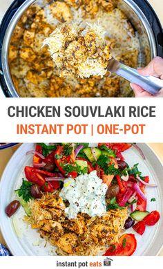 Chicken Souvlaki Marinade, Marinated Chicken, One Pot Dishes, Greek Dishes, Greek Rice, Greece Food, Lemon Soup, Yogurt Sauce, Instant Pot Dinner Recipes