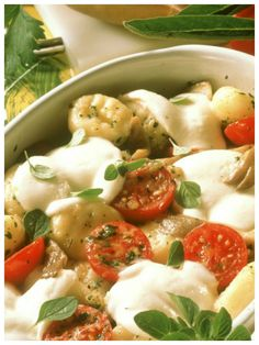 Eine super Kombi für Gnocchi:   Gebackene Gnocchi mit Austernpilzen, Cherrytomaten und Mozzarella
