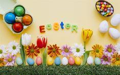 تحميل خلفيات عيد الفصح, نيسان / أبريل 2018, بيض عيد الفصح, الجربيرا, الأقحوان, زهور الربيع, الديكور