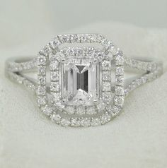 GIA Certified 1.35 Ct. Emerald Cut Halo Diamond Engagement Ring on 14K White Gold by AnyeJewelry on Etsy https://www.etsy.com/listing/233532177/gia-certified-135-ct-emerald-cut-halo