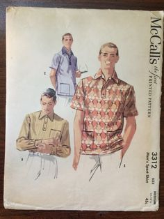 Men's Collared Shirt Pattern #3312 Vintage 1955 McCall's Size Medium Neck 15-15.5 UNCUT - WV- Vintage McCall's Pattern / 50s McCall's