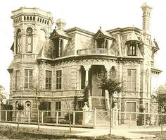 Image courtesy of James O'Donnell, circa 1890 Galveston  .....The Trube home, referred to as 'the strangest house in a city of strange houses,' was built in 1890 by J. C. Trube, a local businessman who emigrated from Denmark in the mid-1800's. The architect, Alfred Muller had it built of brick with Belgian stucco on two city lots. It was not raised after 1900 storm and restored in 1990. It is currently a private residence.