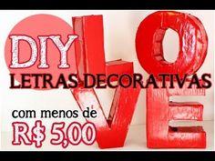 Já pensou em ter lindas e modernas letras decorativas em sua casa, com menos de R$ 5,00? Com materiais simples como o papelão e papel colorido( ou tecido), v...
