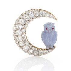 Victorian Diamond Moon and Chalcedony Owl Brooch