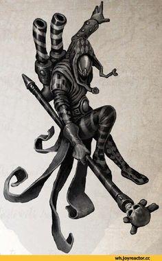 Gotta love these Harlequinns. Creepy Circus, Creepy Art, Character Art, Character Design, Character Inspiration, Warhammer Eldar, Cthulhu Art, Dark Eldar, Ninja Art