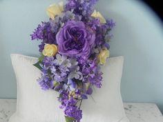 Silk Bridal Cascade Bouquet Cherished by BountifulBouquets on Etsy Silk Wedding Bouquets, Bride Bouquets, Cascade Bouquet, Rose Bouquet, Bridal Flowers, Silk Flowers, Silk Flower Centerpieces, Jewel Tones, Dahlia