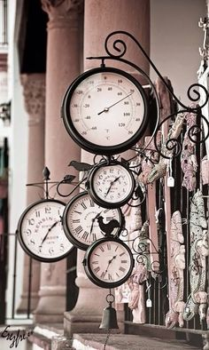 Clocks, pink, wall, columns