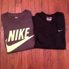 Nike bundle Nike workout bundle: Grey with green Nike logo cotton regular fit t shirt in size small. (Does have some small cracking in logo) black Nike shirt (100% polyester) with white Nike swoosh size large. bother shirts fit like a size small (looser fit) or a medium ( regular fit) both shirts are in pre love condition but still have tons of life left Nike Tops Tees - Short Sleeve