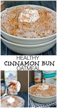 Cinnamon Bun Oatmeal- sugar free, high in protein and gluten free- This breakfast bowl tastes EXACTLY like a cinnamon bun- minus the sugar rush and crash!   #glutenfree #highprotein #sugarfree