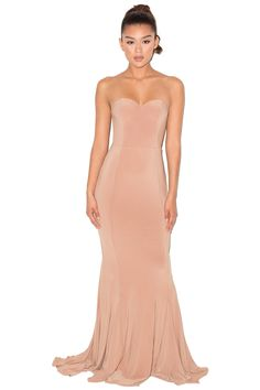 Clothing : Max Dresses : 'Torrea' Camel Silky Jersey Strapless Maxi Dress