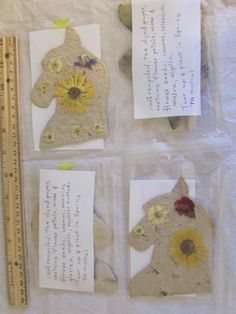 100% recycled tea dyed hand poured PH neutral Horse cards with wild grape leaves, calendulas, feverfews and flower seeds for sale in my shop on Etsy at cfcfdoll.