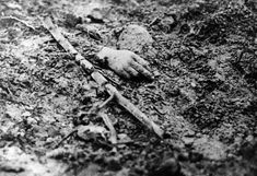 A victim's dismembered hand lies on a battlefield in the north of France 1916