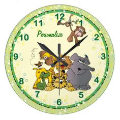 #DesignsByDonnaSiggy #Safari #Jungle #Baby #Animals #Nursery #Theme #gifts #baby #zazzlebesties #zazzle.com #Clock