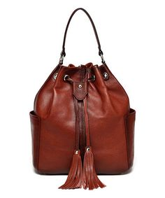 Another great find on #zulily! Red Chalise Leather Bucket Bag #zulilyfinds
