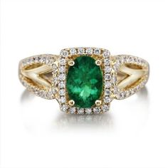 18KY Brazilian Emerald/Diamond Ring