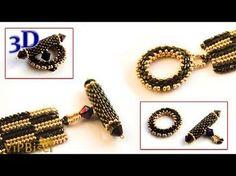 Peyote Beaded Toggle Clasp for flat herringbone bracelet ~ Seed Bead Tutorials