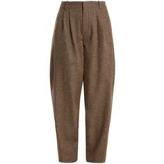Chloé Wide-leg wool-blend tweed trousers (2.510 BRL) ❤ liked on Polyvore featuring pants, brown trousers, peg leg pants, peg-leg pants, pleated pants and brown tweed pants