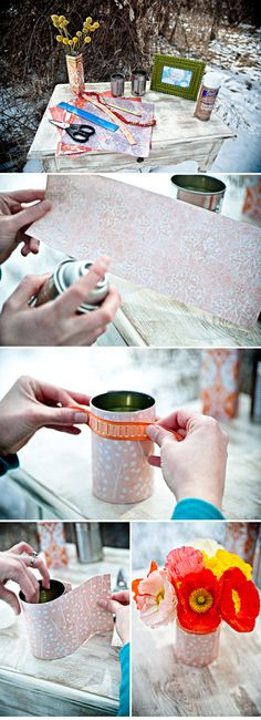 DIY Tin Can Vases centerpieces - maybe with brown paper/burlap and lace?  Or solids with ribbon?