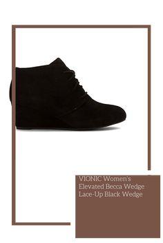 VIONIC Women's Elevated Becca Wedge Lace-Up Black Wedge