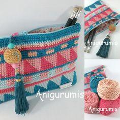 Neceser tapestry BY anigurumis, Diy Abschnitt, Crochet Case, Crochet Clutch, Crochet Quilt, Crochet Handbags, Crochet Purses, Cute Crochet, Knit Crochet, Diy Crochet Patterns, Tapestry Crochet Patterns