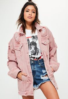 cf892e6fc7c Missguided - Petite Pink Distressed Denim Jacket Oversized Denim Jacket  Outfit, Pink Denim Jacket,