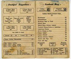 Something from the sandwich menu? Vintage Diner, Vintage Menu, Vintage Recipes, Vintage Ads, Vintage Restaurant, Vintage Stuff, Diner Menu, Retro Diner, Sandwich Menu