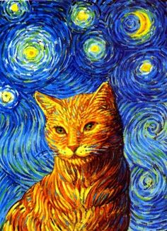 * * I wasn't aware that Van Gogh did this painting, nor that he had a cat named ' Love.' This art work is not a Van Gogh. Van Gogh Art, Art Van, Art Et Illustration, Illustrations, Art Amour, Cat Colors, Art Plastique, Vincent Van Gogh, Crazy Cats