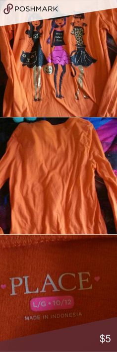 Girls Halloween Shirt Orange long sleeve Halloween tee. Has girls trick or treating on it. Only worn once or twice. Children's Place Shirts & Tops Tees - Long Sleeve