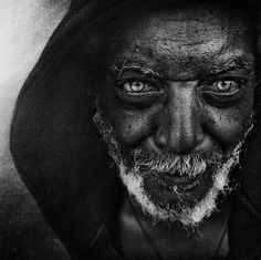 Haunting Black and White Portraits of Homeless People by Lee Jeffries - CAT IN WATER