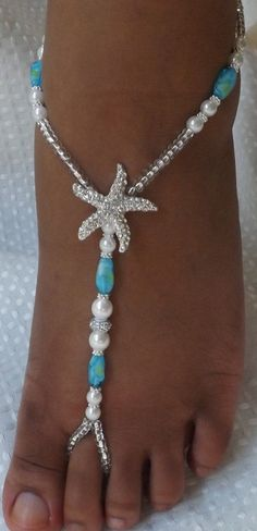 Beach Wedding Shoe Pearl Barefoot Sandal Foot by SubtleExpressions