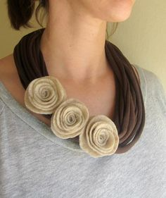 Mocha Felt Rose T-Shirt Scarf Necklace Mocha Felt Rose TShirt Scarf Necklace by swirlsisters on Etsy, measures long Scarf Necklace, Fabric Necklace, Diy Necklace, Crochet Necklace, Necklaces, Textile Jewelry, Fabric Jewelry, Jewelry Art, Rose T Shirt